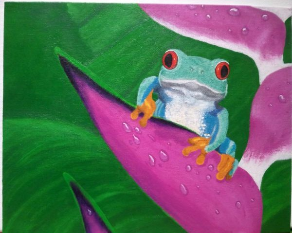 """""""Happy on a Helliconia"""": Acrylic on canvas board. (GIFTED)."""