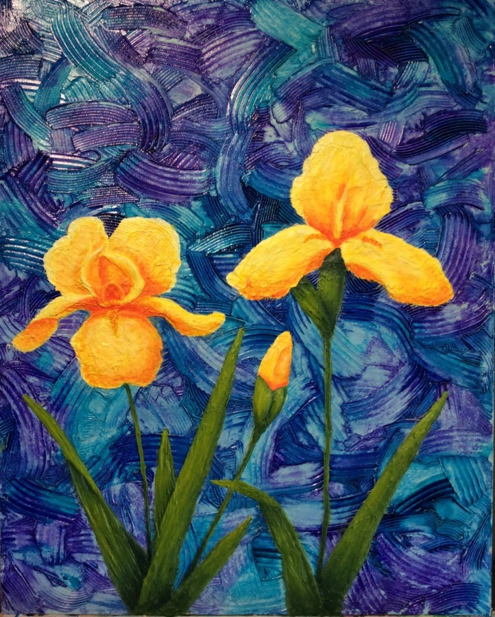 """Yellow Irises"": Mixed Media on board, framed: acrylic, ink, modelling paste and paper. (SOLD)."