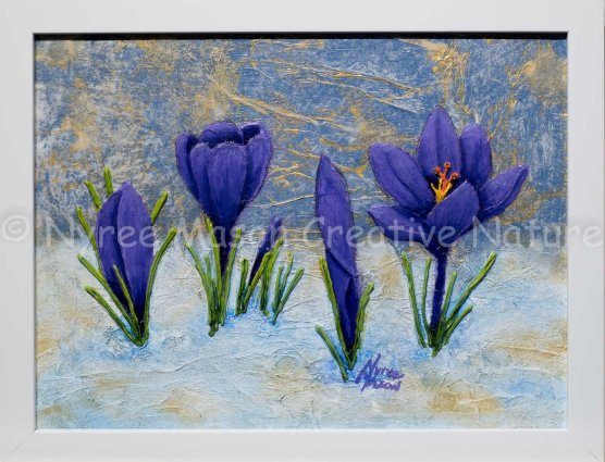 """Crocuses in the Snow"": Mixed Media on canvas board; Framed; Acrylic, ink, paper, modelling paste and beads. (SOLD)."
