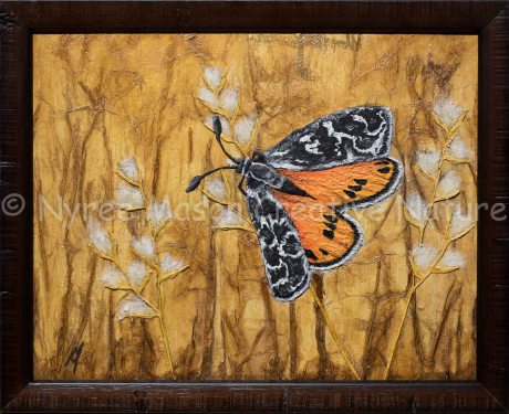 """Golden Sun Moth"": Mixed media on canvas board, framed. (GIFTED)."