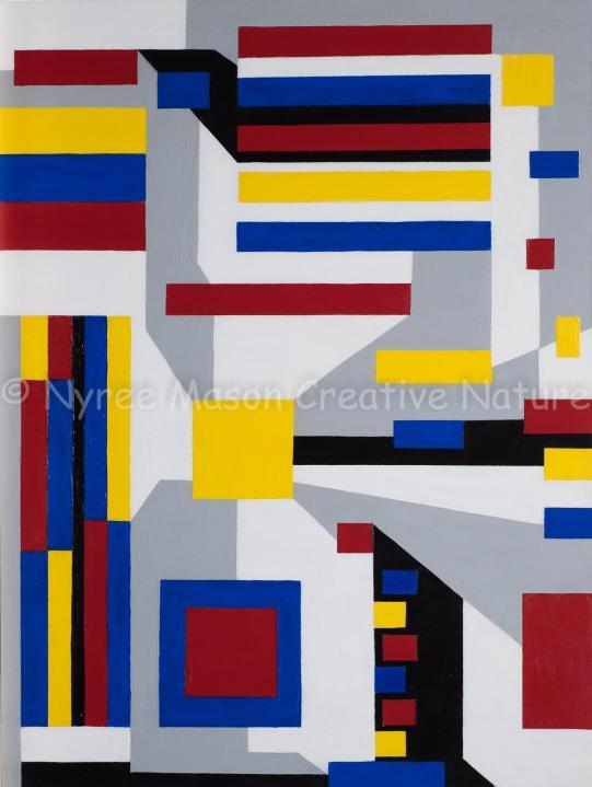 """Motherboard in the De Stiijl of Mondrian"": Acrylic on thin-edge board. ($160)."