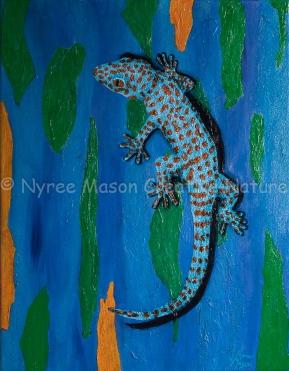 """""""Gordon"""" the Tokay Gecko: Mixed Media on wrapped thick-edge canvas. ($70)."""