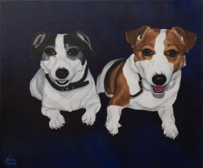 """Grace and Winnie"": Acrylic on canvas."