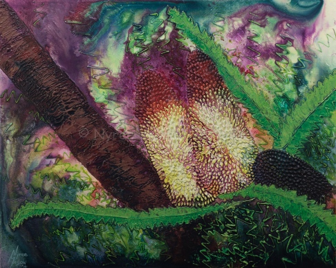 """Banksia Glow"": Mixed Media on wrapped thin-edge canvas; Acrylic, ink and modelling paste. ($300)."