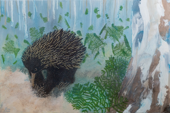 """""""Frank"""" the Echidna"""": Mixed media on wrapped deep-edge canvas. (NFS)"""