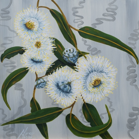 Blue Gum Blossoms: Acrylic on deep-edge board; 30.5cm x 30.5cm. (SOLD).