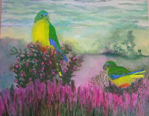 """""""Orange-Bellied Parrots"""": Mixed media on wrapped deep-edge canvas; 76cm x 61cm; Acrylic, ink, modelling paste, blended fibers and sand. ($300)"""