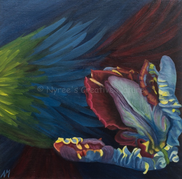 """Audrey II"" (Parrot Tulip): Acrylic on thin-edge wrapped canvas; 30cm x 30cm. ($60)."