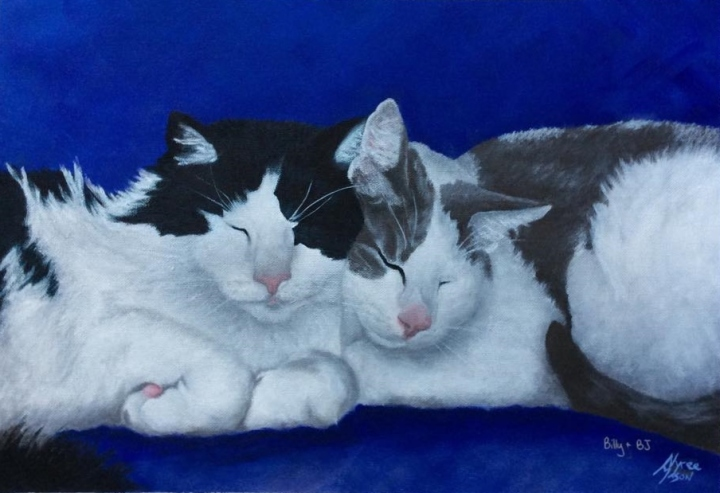"""""""Billy & BJ"""": Acrylic on A3 canvas paper. (COMMISSIONED)."""
