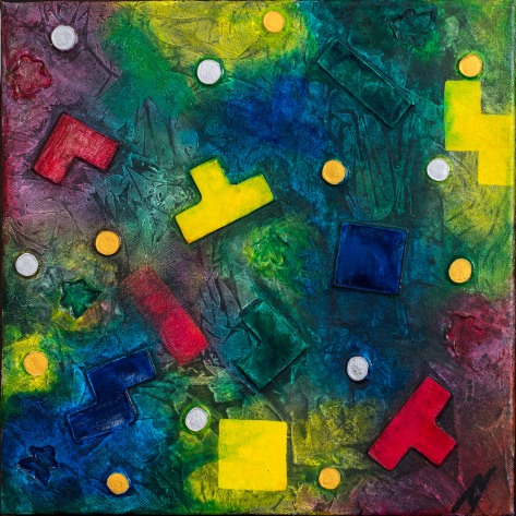 """""""Meeples and Pieces"""": Mixed Media on thin-edged wrapped canvas; unframed & ready to hang ($50)."""