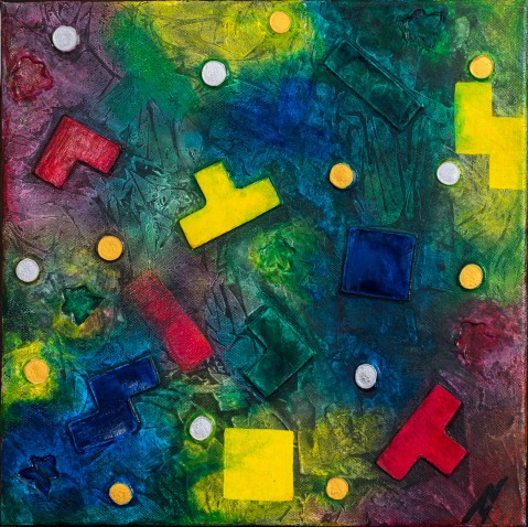 """Meeples and Pieces"": Mixed Media on thin-edged wrapped canvas; unframed & ready to hang ($50)."